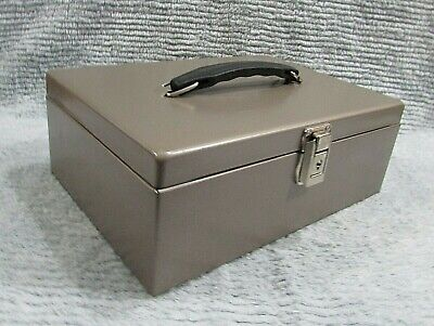 Vintage Brown Khaki Steel Metal Document Cash Lock Box W Handle No Key Free Sh