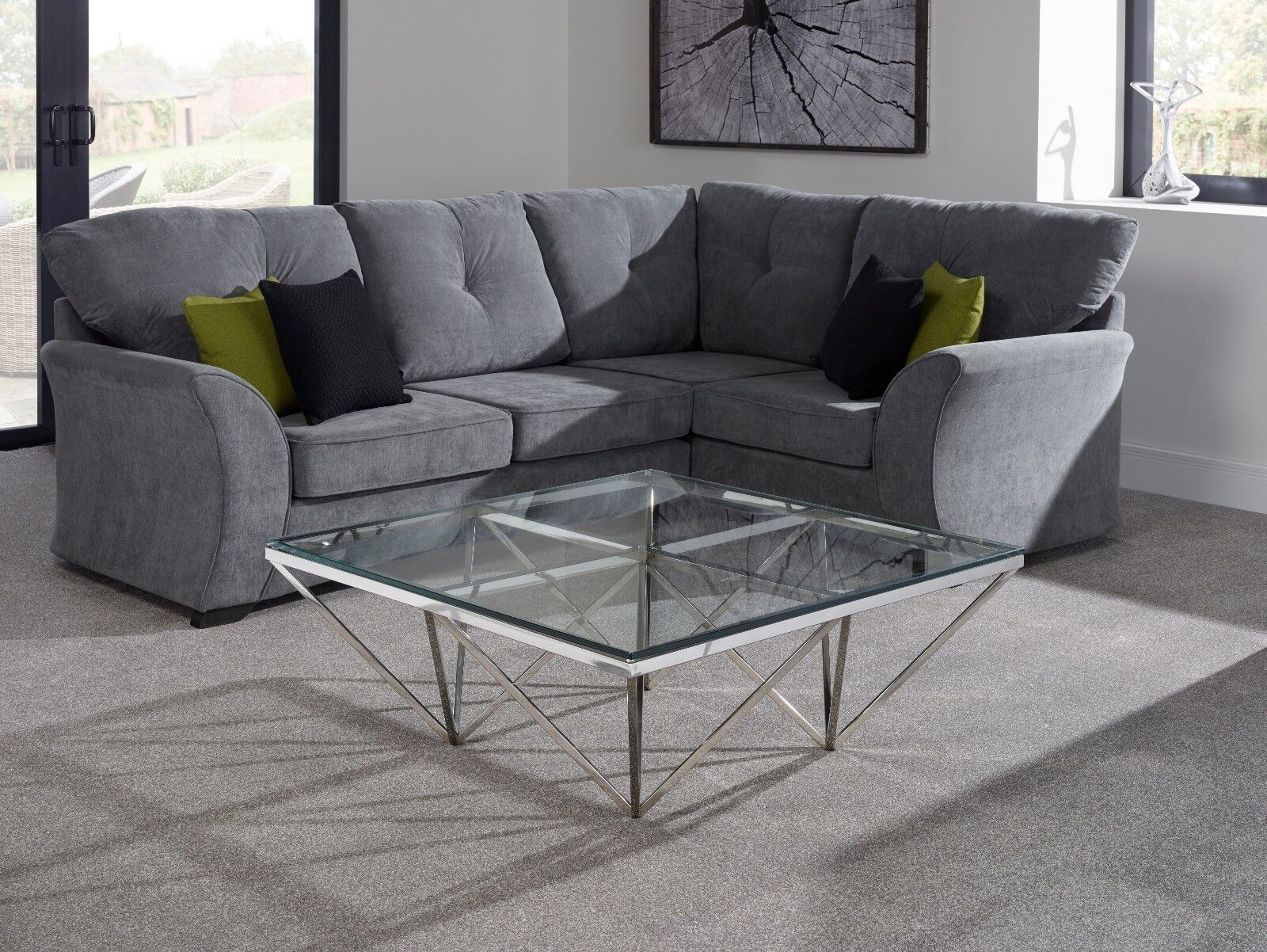 Giza Modern Square Glass Coffee Table In Stainless Steel Frame Star
