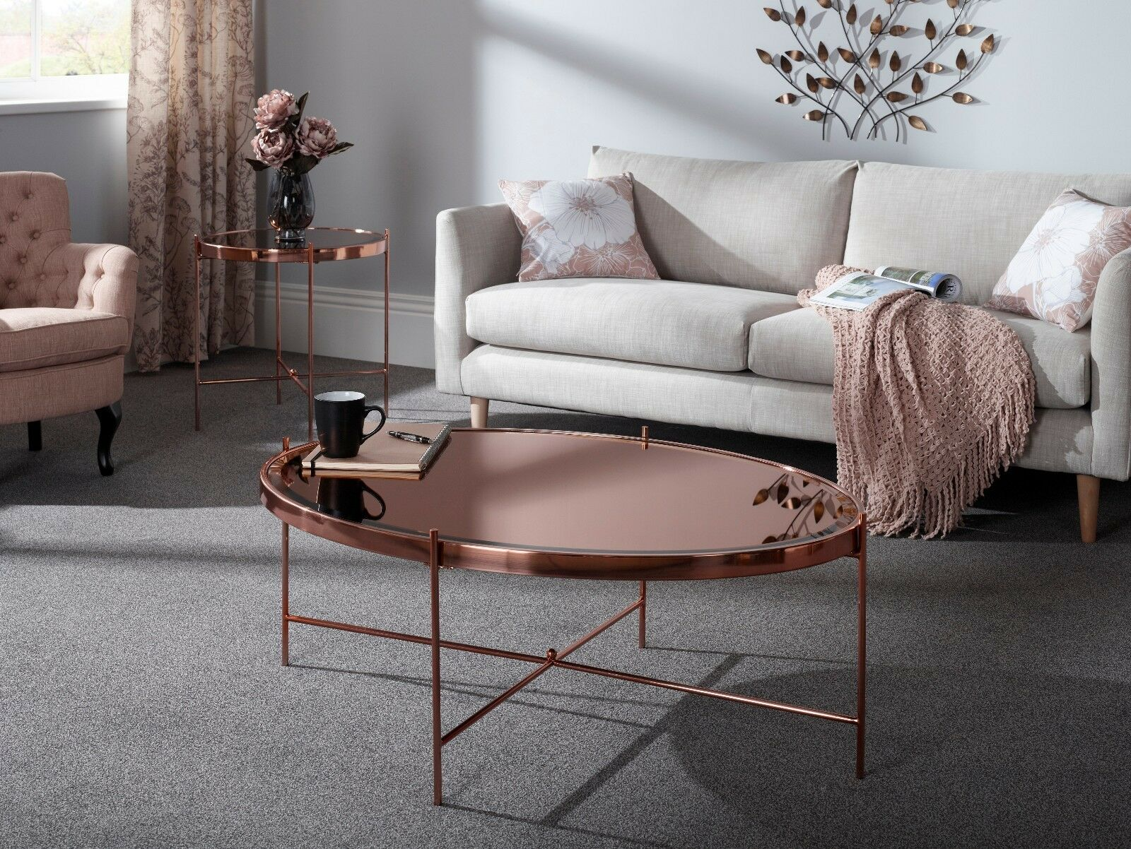 Azur Coffee Table Oval Shape in Rose Gold Metal Base & Mirror