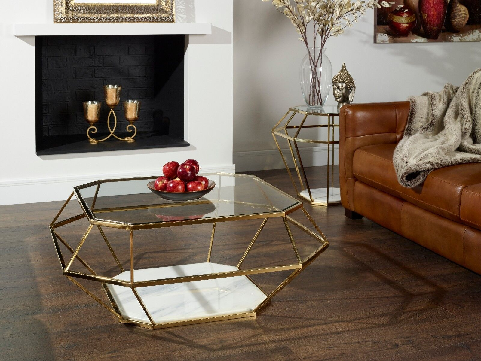 Crystal Glass Top Coffee Table With Marble Base In Gold Or Stainless Steel