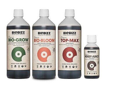 Bio Grow, Bio Bloom, Top Max 1L, Root Juice 250ml Set BioBizz Essential Try Pack