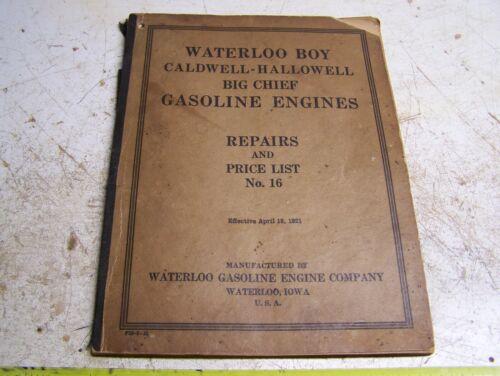 Old WATERLOO BOY CALDWELL HALLOWELL BIG CHIEF Hit Miss Gas Engine Parts Catalog