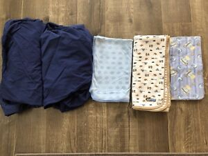 Baby crib fitted sheets and blanket lot