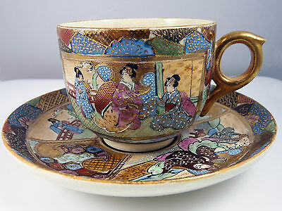 Antique Japanese Meiji Satsuma Pottery Tea Cup and Saucer