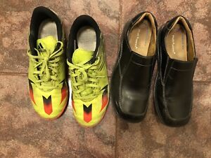 Boys indoor soccer shoes and black Hush puppies dress shoes.