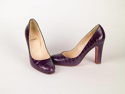 "New CHRISTIAN LOUBOUTIN Women's Purple Crocodile Pumps $4645 4"" Heels Shoes 7/37"
