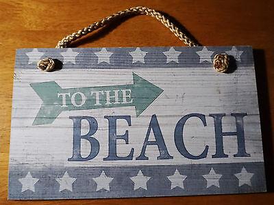 To The Beach Arrow Sign Nautical Blue Coastal Teal Wood Beach Home Decor Sign