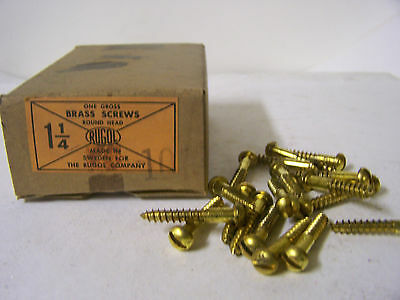 """#10 x 1 1/4"""" Round Head Solid Brass Wood Screws Slotted Made in Sweden Qty.144"""