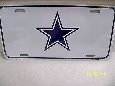 Dallas Cowboys blue + lite grey /silver SM Star football metal license plate (Dallas Cowboys Silver Metal)