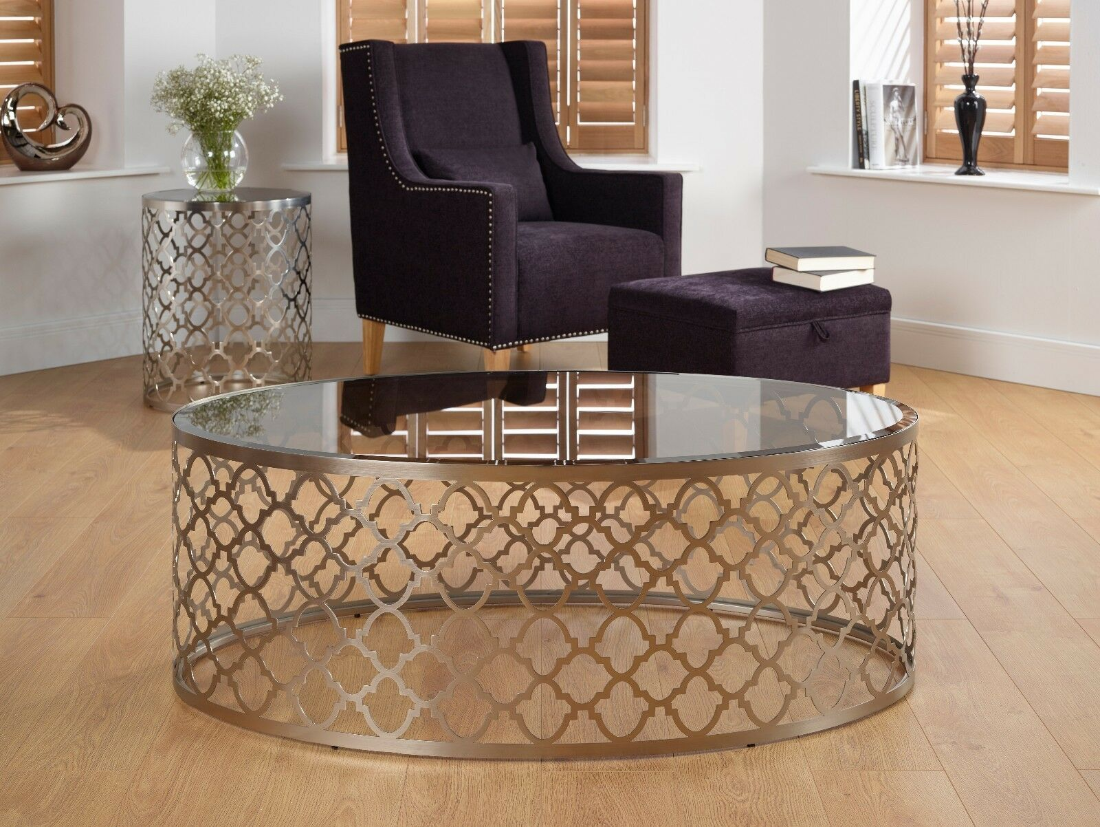 Zenith Oval Glass Top Coffee Table Laser Cut With Satin Metal Base
