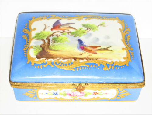 Antique French Sevres Style Hand Painted Porcelain Trinket Box