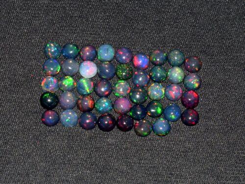 A+++ 3Pcs 6MM Round Natural Ethiopian Black Fire Opal Loose Gemstone Cabochon