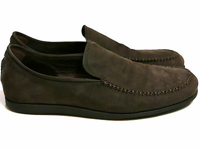 Versace Suede Leather Slip On Shoes Mocassin Loafer Brown Men's Size IT 8 US 9