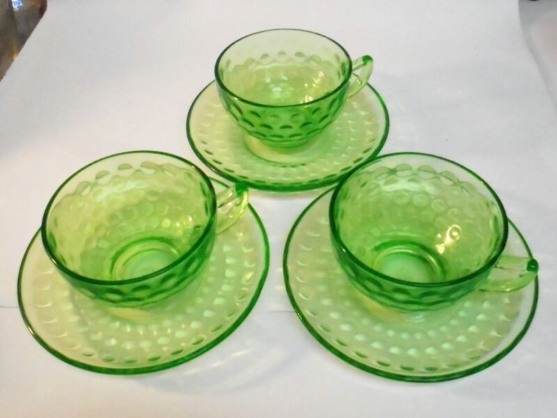 Green Depression Glass - Pattern Raindrops Federal Cup & Saucer  Set of 3