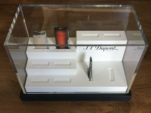 S.T. Dupont  Lighter Acrylic Display Case, Black & White  New In Box