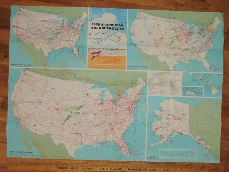 1969 Texaco Wall   Airline Map Of The United States