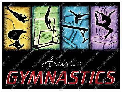 Gymnastics Poster 18x24 - Custom 4 Event Design - Multicolored on Black