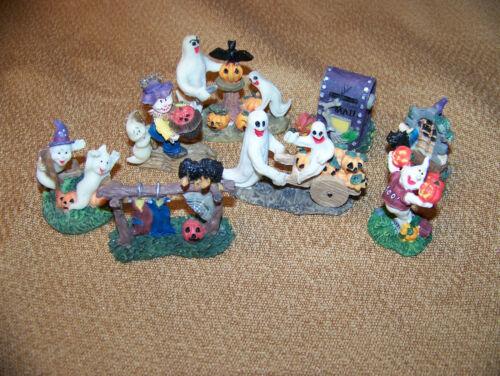 Vintage Halloween Resin Miniature Decor Lot of 8 Figures