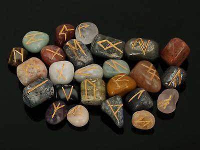 Multi-Stone-Stein Rune Set Symbole Edelstein Heilung Kristall Runen 25 Stück