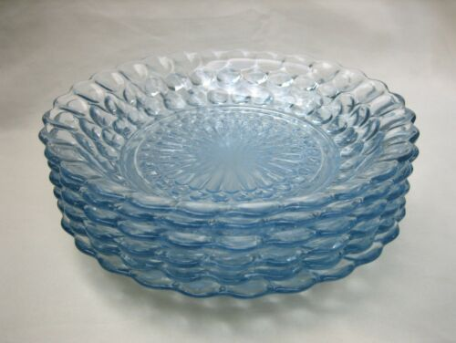 """ANCHOR HOCKING GLASS CO. BUBBLE SAPPHIRE BLUE 7-3/4"""" FLAT SOUP BOWLS LOT OF (6)"""