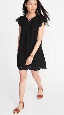 - Old Navy Lace-Up-Yoke Cutwork Swing Dress for Women Size MT- Black- NWT