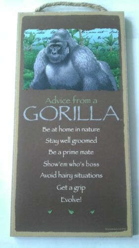 "5"" x 10"" ADVICE FROM A GORILLA WOOD PLAQUE Inspirational Sign Novelty Gift"