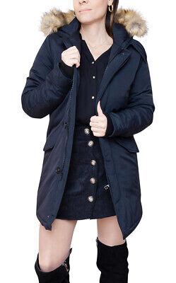 Piumino Parka Diamond donna invernale blu scuro giacca giubbino con cappuccio