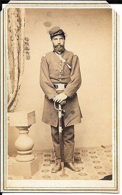 Civil War CDV of a Rhode Island Officer With Sword