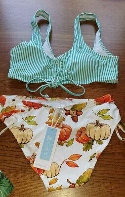 NEU toller hipper Bikini von Cupshe OVP in XS ausverkauft Streifen Kürbis