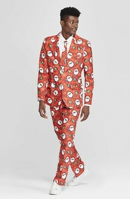 NEW Suitmeister Men Red Santa Ugly Christmas 3 Piece Suit Blazer, Pants, - Father Christmas Red Suit