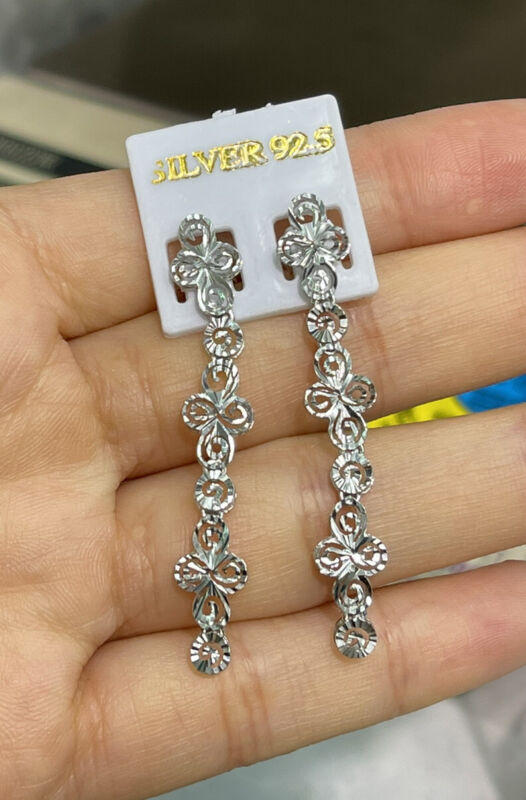 Pure 0.925 Silver Shiny Diamond Cut Dangle Stud Earrings. 3.12 Grams