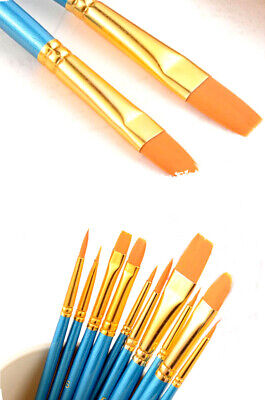 - 10Pcs Artists Nylon Hair Round Pointed Acrylic Watercolor Tip Paint Brush Set
