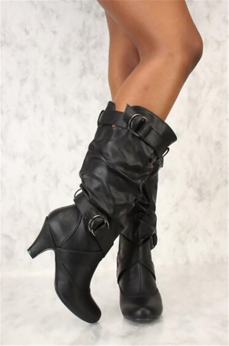 women/'s lace up high heel pointed toe mid-calf boots PU leather shoes plus size