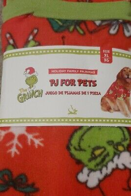 DR. SEUSS THE GRINCH PJ'S FOR PETS - Holiday Family Pajamas - XLARGE - NIP