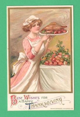 1912 WINSCH SCHMUCKER THANKSGIVING  POSTCARD BEAUTIFUL LADY TURKEY PLATTER FRUIT](Thanksgiving Fruit Platter)