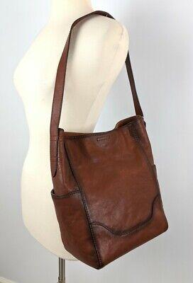 Frye Leather Side Pocket Hobo Cognac Shoulder Bag Brown Handbag 34DB323 NWT $348
