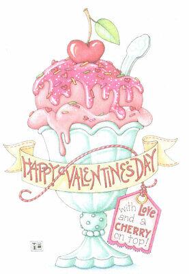 LOVE CHERRY ICE CREAM SUNDAE-Handcrafted Valentine Magnet-W/Mary Engelbreit art