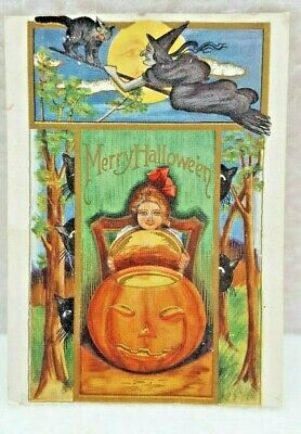 Great antique Vintage USA Picture Postcard PPC Merry Halloween Girl And Pumpkin