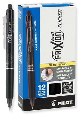 Pilot Frixion Clicker Erasable Gel Pens 0.7 Mm Black Pack Of 12