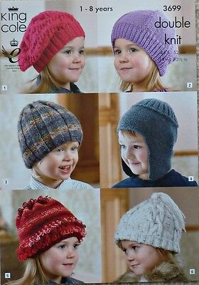 - KNITTING PATTERN Childrens Hats 6 Styles Beret Earflap Beanie DK King Cole 3699