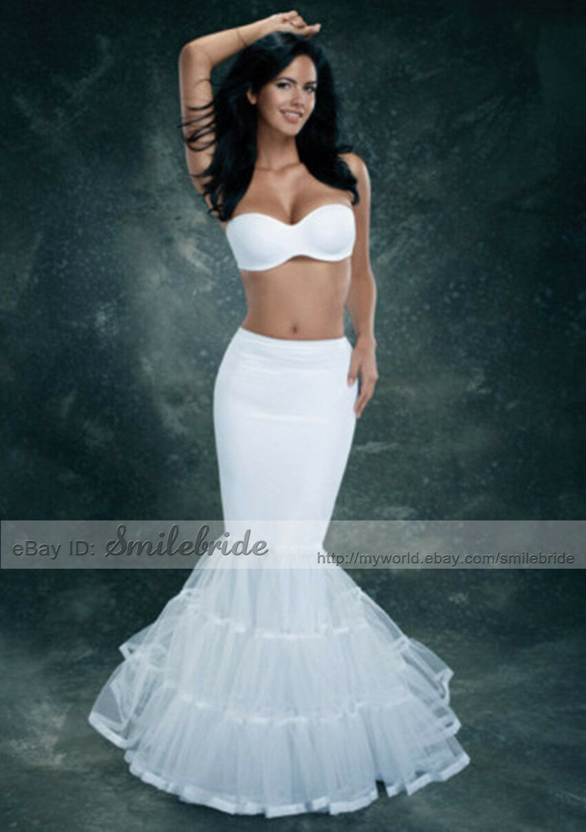 Details about Normal or Plus Size Mermaid Trumpet Style Wedding Gown  Petticoat Crinoline Slip