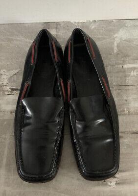 GUCCI-Square Toe Loafer-Vintage GUCCI Sz 7.5 black Leather Shoe