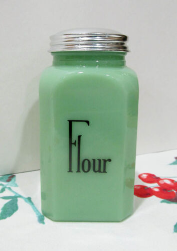 Jadite Glass Flour Shaker Lg Range Size Hazel Atlas Vintage Style 50s Kitchen