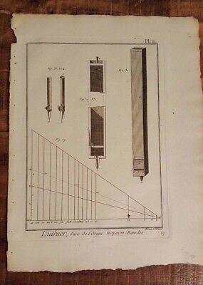 1 Engraving, Titled - LUTHIER, SUITE DE L'ORGUE, Diapazon, Bourdon - Mid 1700s