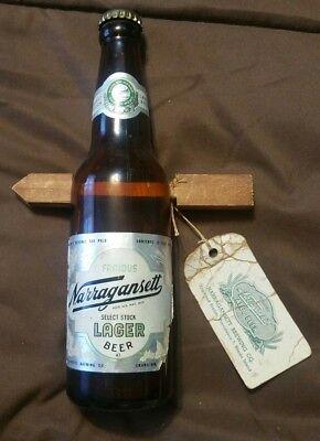 "SUPER SCARCE 1947 NARRAGANSETT BEER AMBER GLASS ""ARROW THROUGH THE BOTTLE"" & TAG"