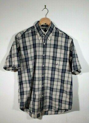 Mens Nautica Grey Plaid Checked Short Sleeve Casual Shirt Size M Medium
