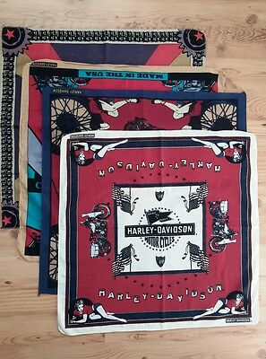 Vintage Harley Davidson bandanas collection lot 30s 50s 90s WW2 pin up rare
