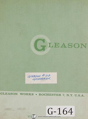 Gleason 12 B Straight Bevel Gear Generator Replacement Parts Manual 1964