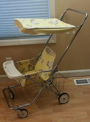 VTG Peterson Baby Strolee Stroller w/Canopy Little Girl & Boy Design