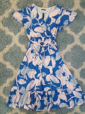 Reborn New York*Blue&Pink Printed Summer Maxi Dress*Size Large*NWT